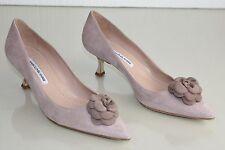 $755 NEW MANOLO BLAHNIK Camelia BB 50 ROSE Suede  Kitten Heels Shoes 39.5 40 41