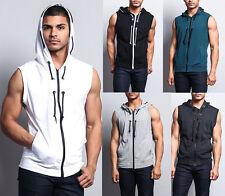Victorious Men's Lightweight Sleeveless Zipper up Gym Vest Hoodie SL888-I8D