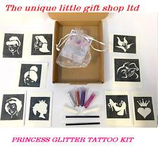 GLITTER TATTOO KIT PRINCESS 10 stencils 4 glitters  glue applicator BOX
