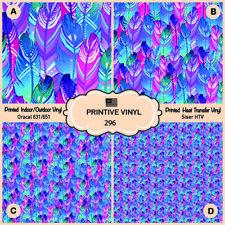 Boho bird feathers Pattern Printed HTV, Oracal ,Siser, Craft vinyl-  296