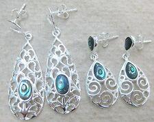 "REAL 925 STERLING SILVER "" PAUA SHELL / ABALONE "" NZ filigree drop earrings GIRL"