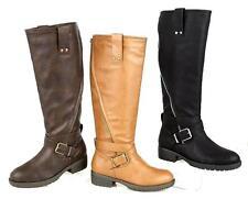 Womens Black Leather Look Low Heel Riding Biker Flat Ladies Mid Calf Boots Size