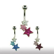 Bauchnabel Piercing Schmuck 3 Sterne mit vielen Kristallen Mehrfarbig