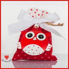 Sacchetto portaconfetti  rosso  ciondolo gufo per bomboniere laurea Cuorematto