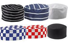 Cuochi SKULL CAP cappello per ristorazione Professionale Chef Cuochi Cucina sotto controllo Stripe