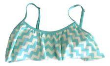 Juicy Couture Size Small Aqua Cream Tropical Wave Flouncy Ruffle Bikini Top NEW
