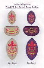 1960's UNITED KINGDOM Boy Scouts & Sea Scout 1st, 2nd Class Rank Award Badge SET