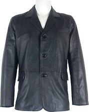 UNICORN Hombre Genuino real cuero chaqueta Estilo clásico Blazer traje Negro #B5