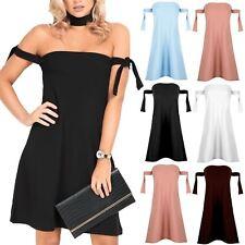 Womens Ladies Plain Off Shoulder Bardot Tie Knot Mini Boobtube Shift Swing Dress