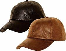 Baseball Cap Hat Faux Leather Look Brown Black Hunting Fishing Mens Ladies