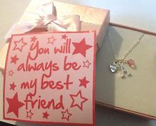 Bester Freund anhänger halskette mit initial und kristall in geschenkbox
