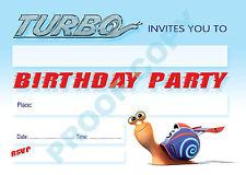 Turbo Caracol Kids Niños Fiesta De Cumpleaños Invitaciones Pack De 10, no