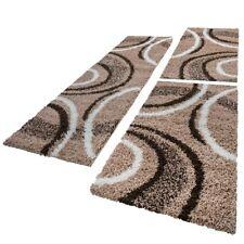 Bettumrandung Läufer Shaggy Hochflor Teppich Muster Braun Beige Läuferset 3 Tlg