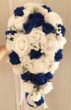 Royal Blue/White Wedding Flowers, Roses Bouquet, Bride/Bridesmaids/Buttonh oles