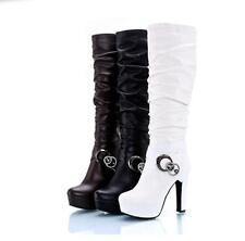 Women's sexy  block high heel knee high riding boots platform shoes plus size