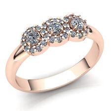 Genuine 1.5ct Round Cut Diamond Ladies 3Stone Fancy Wedding Band Ring 18K Gold