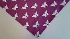 Dog Bandana Purple White Tie On Butterflies Custom Made by Linda Xs S M L xL