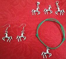 ANTIQUE SILVER HORSE CHARM - EARRINGS - NECKLACE - BRACELET - FARM - 4H - EQUINE