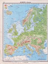 1941 MAP ~ EUROPE PHYSICAL ~ ICELAND BRITISH ISLES NORTHERN EUROPEAN PLAIN SPAIN