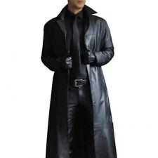 Winter New Men Gothic Faux Leather Steampunk Long Trench Coat  Jacket Windbreake
