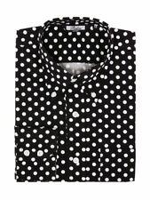 Relco Mens Black Long Sleeve Sleeved Polka Dot Print Shirt 60s Mod Vintage Retro