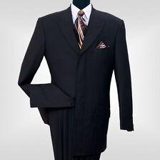 Men's 2Pc Luxurious Wool Feel Suit With Waist Band 4 Hidden Button Black Brown