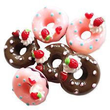 5 un. Helado Anillo Donut Resina Kawaii Dorso Plano Cabujones Adorno Decoden Craft