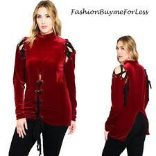 PLUS Gothic Red Velvet Renaissance Medieval Pirate Lace Up Shirt Top 1X 2X 3X