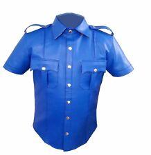 Uniforme de policía de cuero hombres muy caliente Genuino Real Camisa bluf Gay