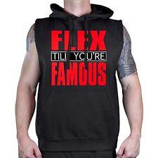 Men's Flex Til You're Famous Black Sleeveless Vest Hoodie Workout Gym Fitness
