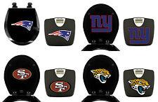 FC681 2 PIECE SET NFL THEMED BLACK FINISH BATHROOM SCALE ROUND WOOD TOILET SEAT
