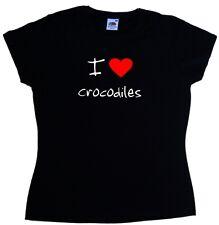 I Love Heart Crocodiles Ladies T-Shirt