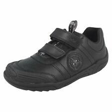 Infant Junior Boys Clarks Black Leather Flashing Light School Shoes - Wing Smart