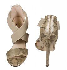 Delicious Women's Elia Open Toe Elastic Strap High Heel Pump L. Gold Snake Skin