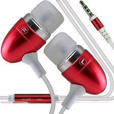 Aluminium Stereo In Ear Earbud Hands Free Earphones/Headphones+Microphone✔Red