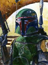 Boba Fett Detailed Armor Excellent Light & Shadow Star Wars Art Giclée on Paper