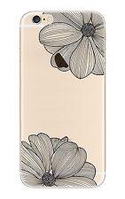 iPhone 7  Coque transparente souple fantaisie ( Fleurs noires )