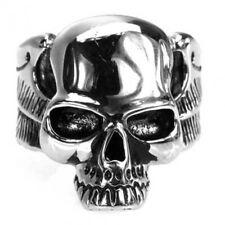 Breiter Edelstahl-Ring Totenkopf & Flügel, Skull, Schädel, Biker