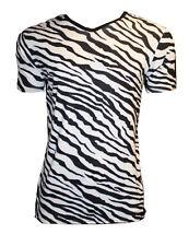 MEN'S ZEBRA ANIMAL PRINT T-SHIRT TOP FANCY DRESS COSTUME GOTH PUNK EMO SHIRT