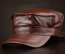 BROWN MEN'S WINTER LEATHER FLAT HAT EARMUFFS CAP