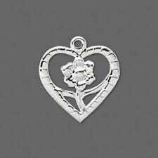 "Silver Heart Flower Charm Love Pendant Jewelry Scrapbook 1"" Lot of 16"