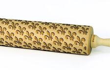 Engraved FLEUR DE LIS rolling pin wooden laser cut any pattern unique design
