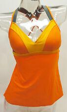 Reebok T-Street Colorblock Apron Open Back Tankini Top Women's Swimwear Small