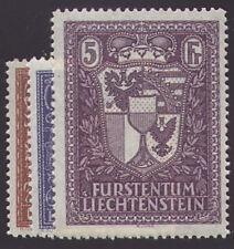 """Liechtenstein Nr. 140-142 """"Fürsten und Landeswappen"""" ungestempelt / gestempelt"""