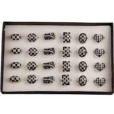 bisutería Anillo con piedras strass plata Negro Muchos Modelos tamaño 17-20 #046