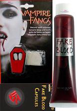 Dracula FANGS CAPS TEETH Fancy Dress FAKE BLOOD CAPSULE Putty Adhesive Halloween