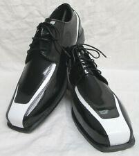 Men's New Black & White Tuxedo Shoes Spats Retro Prom Costume *Damaged Discount*