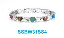 Silver & Multi color stones Women magnetic stainless steel link Heart bracelet