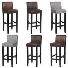 Lot de 2 Tabouret de bar cuir artificiel assises pieds en bois massif f238