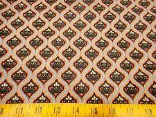 Ivory Cats Fabric Catkin & Her Kitten FLORAL Diamond Pattern Cotton Fabric